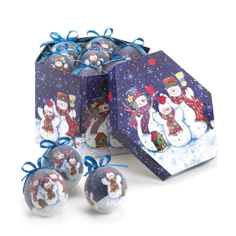 wintery night snowman ornament set