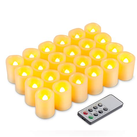 24 X Flameless Flickering Led Tea Light Candles 24 X Flameless Flickering Led Tea Light Candles Battery Operated Tealights Ebay