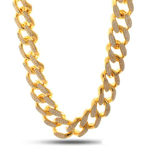 Home Design Outlet Miami 14k gold 20mm quot studded quot miami cuban curb chain hip hop