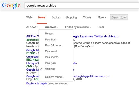 google images archive google news archive returns via search tools search