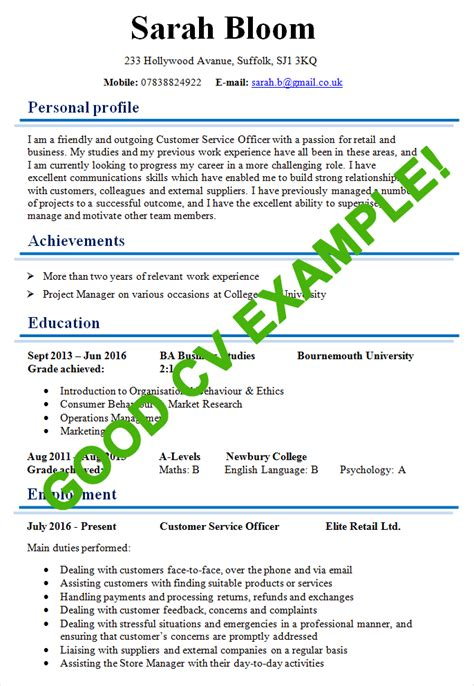 exle of a well written cv exle of a cv