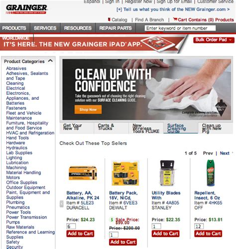 best e commerce site best ecommerce websites grainger gets it done for b2b retail