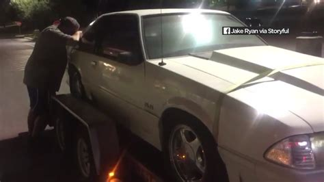 siblings surprise dad  buying    ford mustang