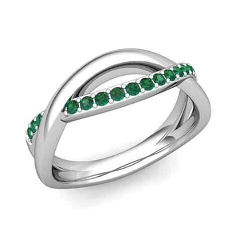emerald wedding anniversary ring in platinum infinity
