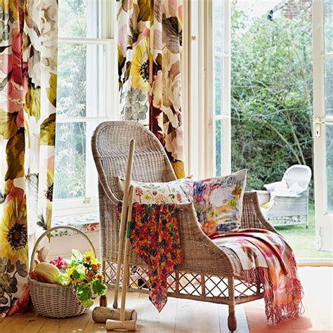 Floral Living Room Chairs Bright Floral Living Room With Wicker Chair Living Room Decorating Housetohome Co Uk