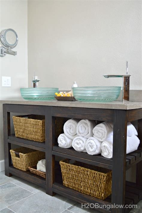 bathroom vanity shelving ideas build an open shelf bathroom vanity hometalk