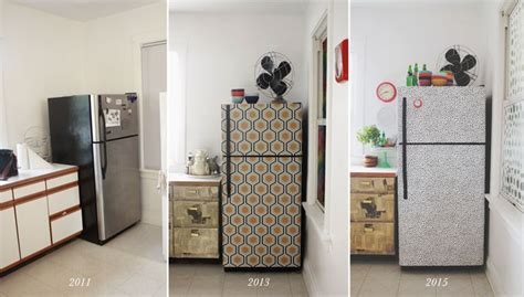 How To Make A Paper Refrigerator - i wallpapered the fridge again