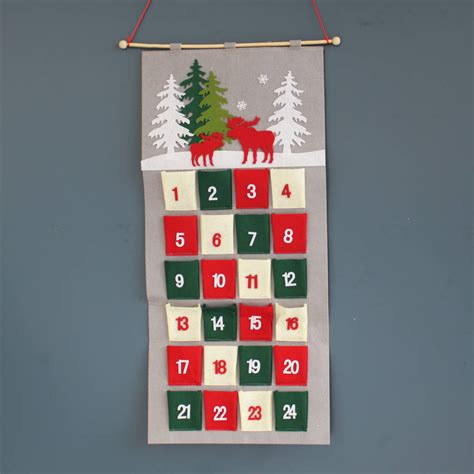 hanging felt christmas advent calendar by posh totty