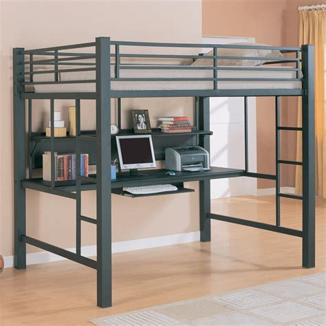 lofted full bed coaster workstation full double metal loft bed