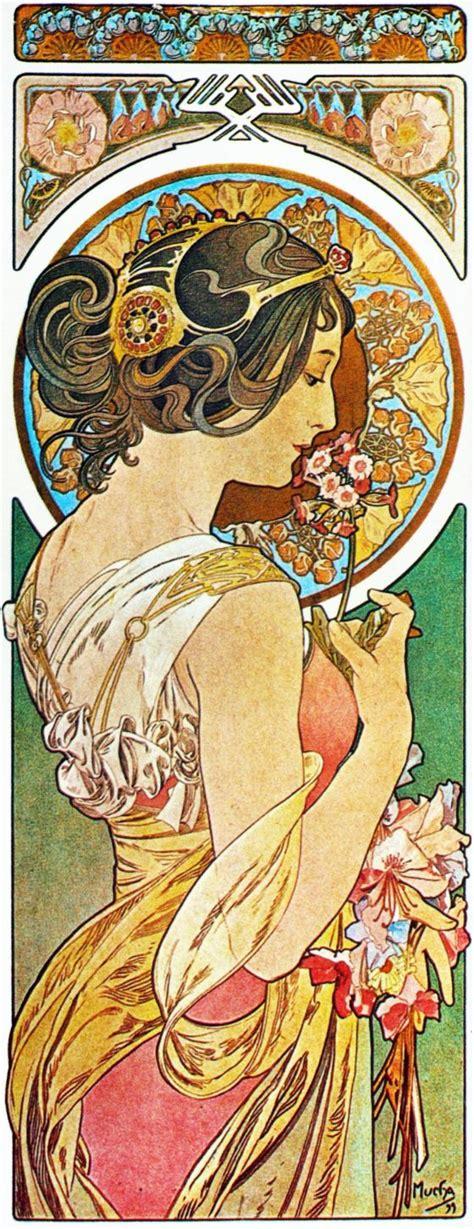 art deco and art nouveau on pinterest art deco clip art la primevere by alphonse mucha aam030 art print a4 a3 a2