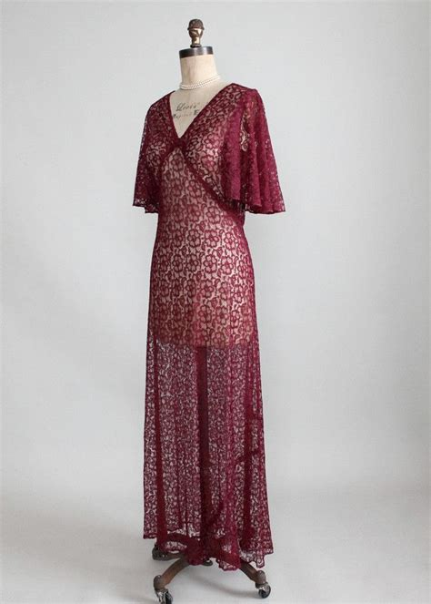 Timeless Fashion At Sielian Vintage Apparel by Vintage 1930s Cranberry Lace Evening Dress 1930s
