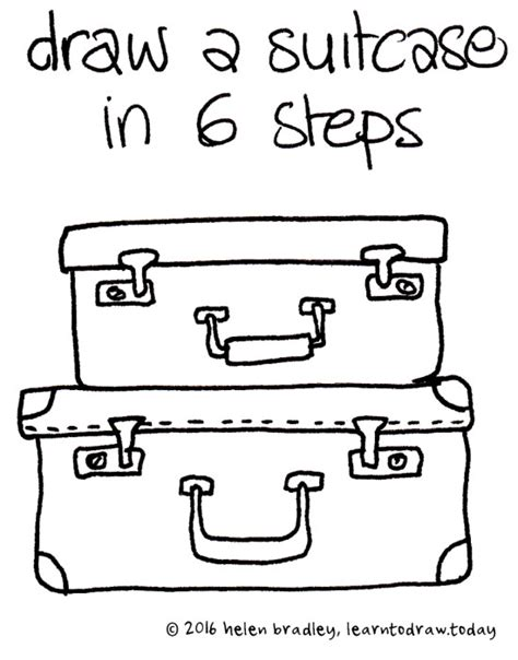 how to do doodle today learn to draw a suitcases in 6 steps learn to draw