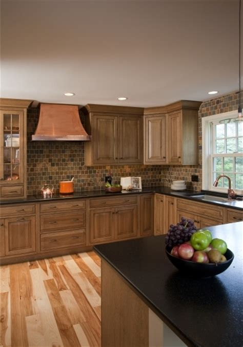 natural hickory floor kitchen quarter sawn white oak inset cabinets and hickory hardwood