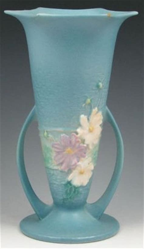 Value Of Roseville Pottery Vases by Roseville Pottery Cosmos Vase Handled Blue 11 Inch