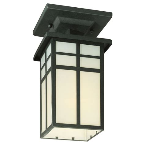 Outdoor Ceiling Light Fixtures Lighting Mission Black 1 Light Outdoor Semi Flush Mount Sl96657 The Home Depot