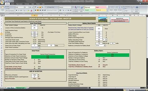 how to calculate the solar panel requirement electrical load calculation excel sheet calculate size of solar panel battery bank and