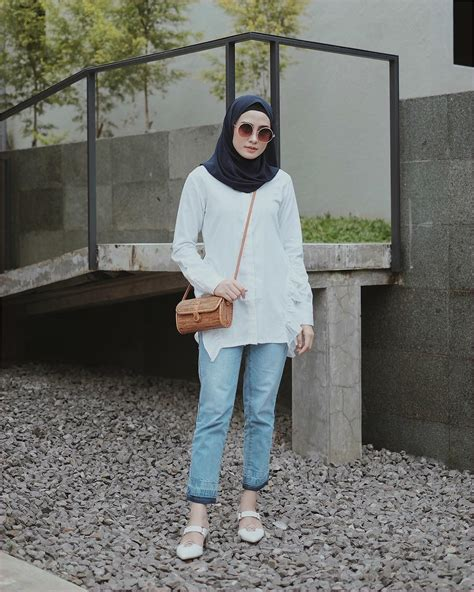 outfit baju hijab casual  kuliah ala selebgram