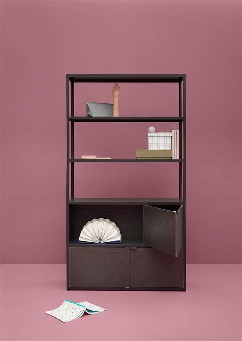 new order bookcase charcoal black stained oak boxes by hay
