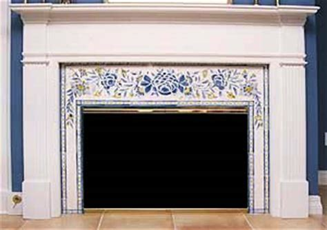 painted fireplace tiles by tile artist bettina elsner