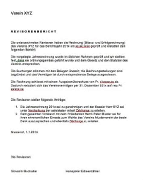 Brief Formatierung Schweiz 2015 Revisorenbericht Verein Vorlage Muster Und Vorlagen Kostenlos
