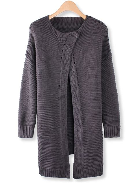 grey knit cardigan womens casual grey sleeve knit cardigan sweater