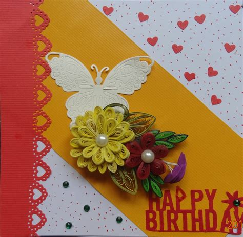 Handmade Flower Cards - buy handmade butterfly quilling flower card shipmycard