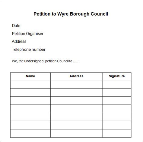 petition template to print sle petition forms to print petition template 23
