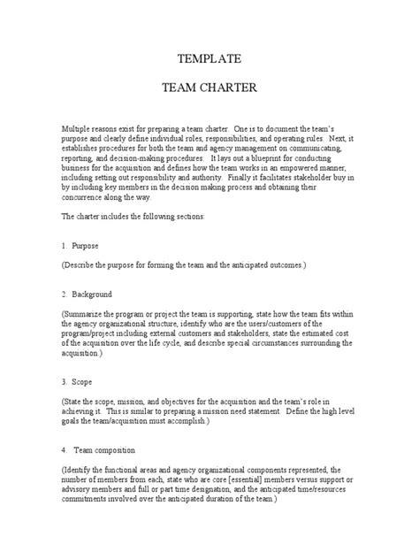 team charter template sle generic team charter template business technology