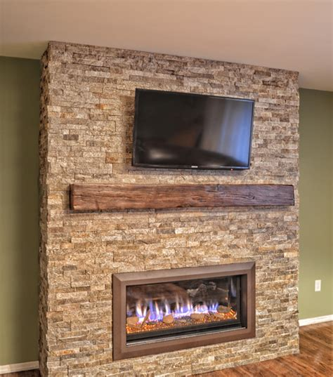 stacked stone linear fireplace contemporary living