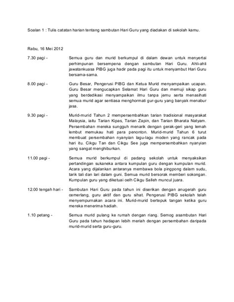 contoh catatan hari guru