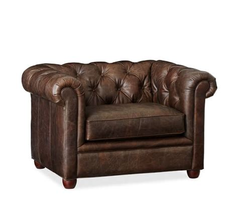 Second Chesterfield Armchair by Chesterfield Leather Armchair Pottery Barn