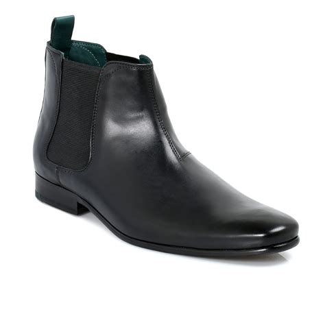 ted baker black buurg leather mens chelsea ankle boots