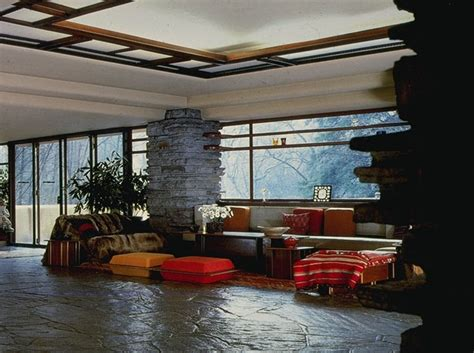frank lloyd wright falling water interior fallingwater colorineverydaylife