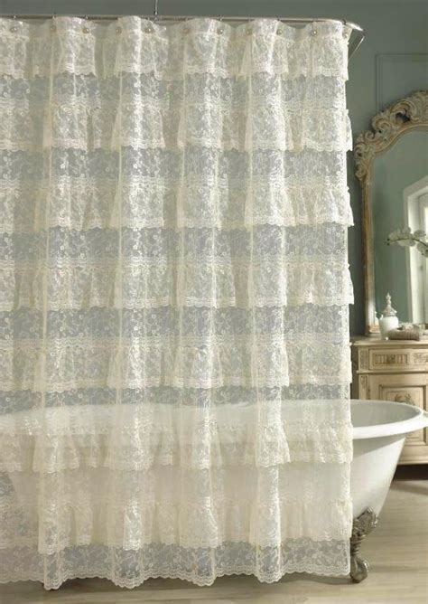 ivory ruffle shower curtain priscilla lace ruffled shower curtain ivory