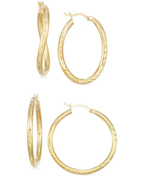 macy s set of two textured hoop earrings in 14k gold