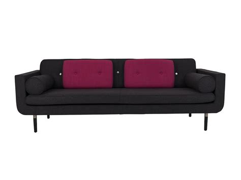 pink sofa brisbane lounge hire billie sofa in charcoal fabric wth hot pink