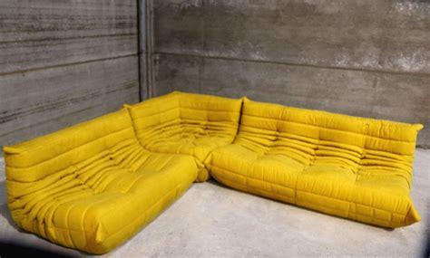 togo sectional vintage yellow togo sofa set michel ducaroy for ligne