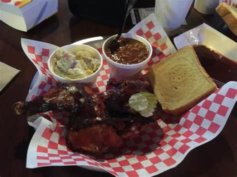 smoked crispy chicken plate with 2 sides picture of hog wild beach bbq gulf shores