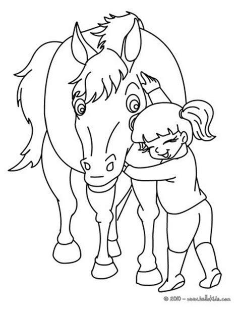 coloring pages of a horse with a girl girl hugging her horse coloring pages hellokids com