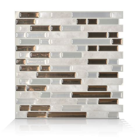 smart tiles 6 pack bellagio grigio composite vinyl mosaic