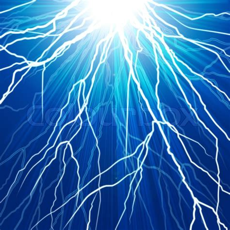 Electric Shock In Blue Green electric flash of lightning on a blue background