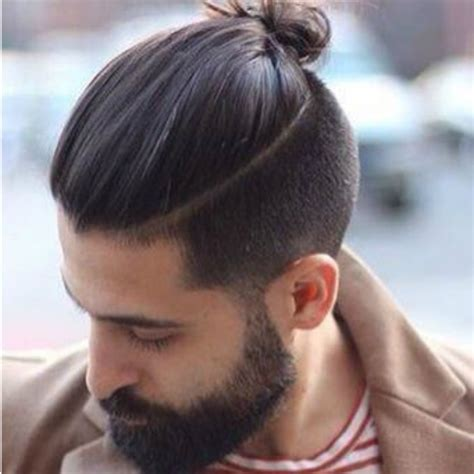 head shaved on sides with bun on top mens hairstyles ponytail shaved sides hairstyles by unixcode