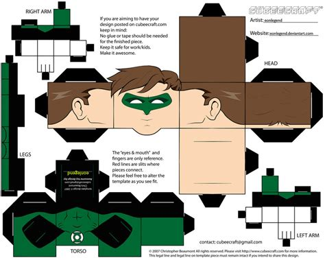 Green Lantern Papercraft - cubeecraft green lantern by eonlegend on deviantart