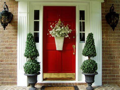 red door home decor front door decoration to welcome guests