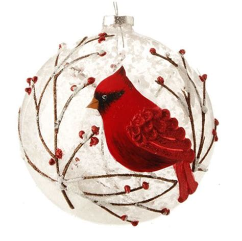 festive cardinal birds christmas ornaments cardinals