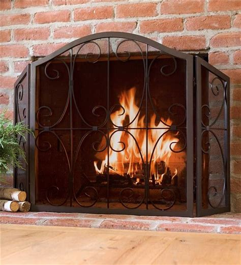 tri fold fireplace screen with doors plow hearth crest tri fold fire screen 130