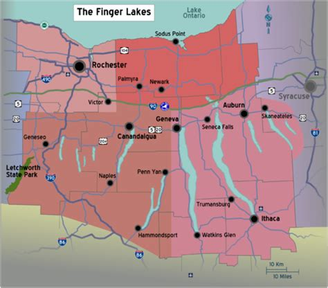 map of the finger lakes finger lakes travel guide at wikivoyage