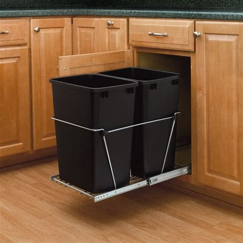 Built In Trash Cans For The Kitchen by Rev A Shelf Trash Pullout 35 Quart Black Rv 18kd 18c S Cabinetparts