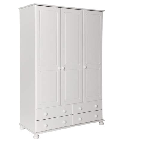 White Wardrobe With Drawers Oslo White 3 Door 4 Drawer Wardrobe