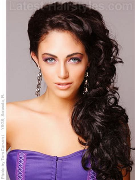 hairstyles side curls curly side ponytail prom hairstyles